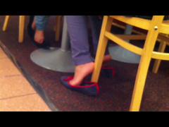 Candid Arab Woman Shoeplay Flats Feet